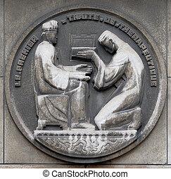 bâtiment, thérapeutique, soulagement, premier, france., médecine, pierre, de, paris, treatise., faculte