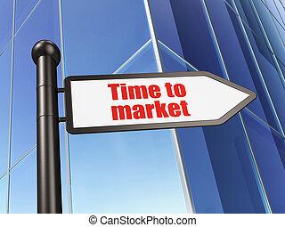 bâtiment, timeline, signe, marché, fond, temps, concept: