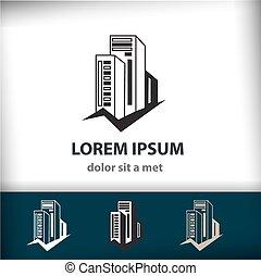 bâtiment, ton, construction, isolé, créatif, icône, vecteur, architecture, compagnie