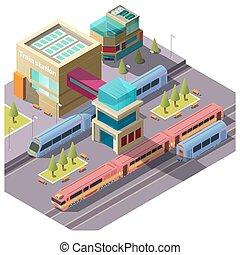 bâtiment, train, isométrique, station, vecteur