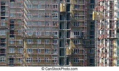 bâtiment, travail, ascenseurs, site, toit, construction, autre, vue