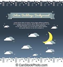 bâtiment, urbain, nuit, arrière-plan.