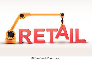 bâtiment, vente au détail, industriel, bras robotique, mot