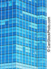bâtiment, verre, façade, moderne, bureau
