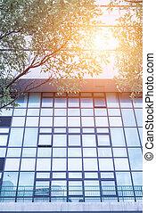 bâtiment, verre, fenetres, bureau