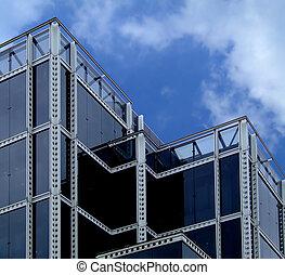 bâtiment, verre, noir