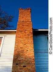 bâtiment, vieux, cheminée