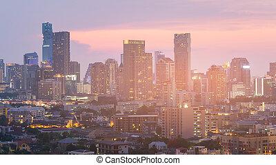 bâtiment, ville, bureau, business, en ville, nuit