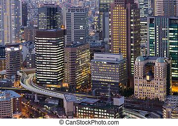 bâtiment, ville, bureau, business, en ville, nuit, vue
