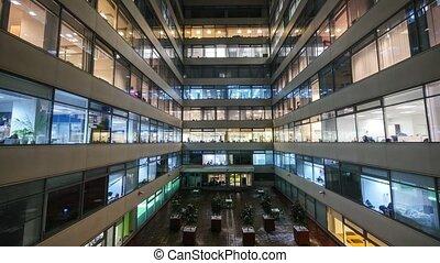 bâtiment, ville, bureau occupé, défaillance, moderne, ensemble, grand, temps, ouvriers