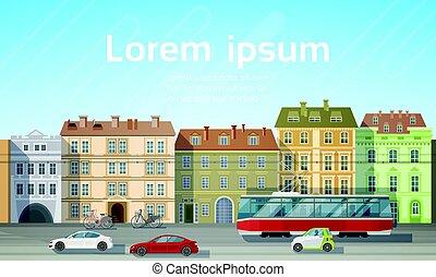 bâtiment, ville, espace, voiture tram, maisons, horizon, route, fond, copie, transport, vue