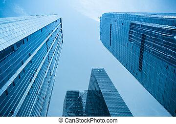 bâtiment, ville, moderne, bureau
