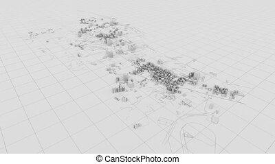 bâtiment, ville, résumé, 3d, blanc