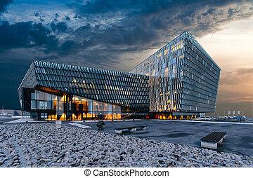 bâtiment, visualisation, render, moderne, commercial, verre, 3d