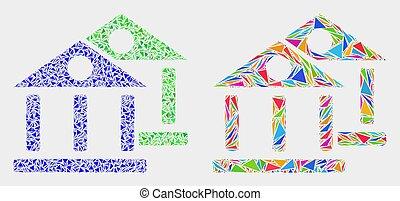 bâtiments, éléments, triangle, musée, vecteur, mosaïque, icône