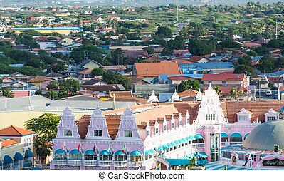 bâtiments, aruba, coloré