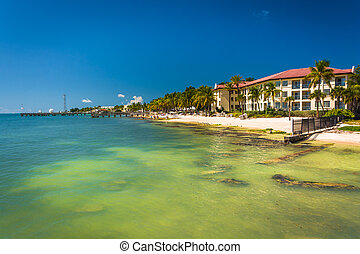 bâtiments, b, golfe, mexique, eaux, turquoise, long