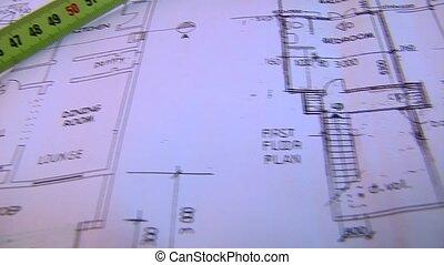 bâtiments, bande, plans, mesure