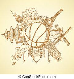 bâtiments, basket-ball, autour de, célèbre, balle, architecture