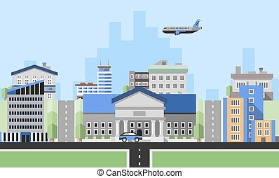 bâtiments, bureau, fond
