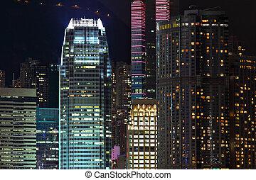 bâtiments, business, hong kong, détails, nuit
