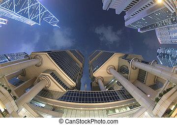 bâtiments, central, zone affaires, moderne, hong kong