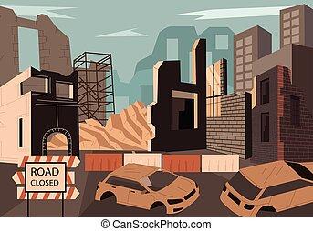 bâtiments, démoli, ville, détruit