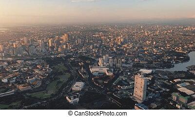 bâtiments, district, gratte-ciel, panorama, ville, makati, affaires modernes, aérien, centre, manille