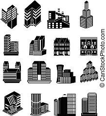 bâtiments, ensemble, icônes