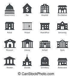 bâtiments gouvernement, icônes