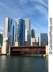 bâtiments, haut-ascension, chicago