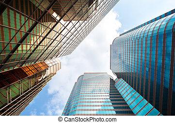 bâtiments, haut-ascension, reflété, bureau