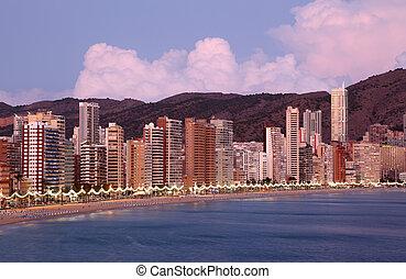 bâtiments, highrise, benidorm, long, plage, espagne