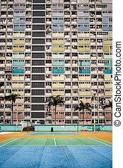 bâtiments, hong, appartement, coloré, kong