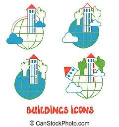 bâtiments, icônes concept, global, -, ensemble