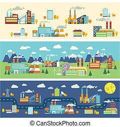 bâtiments, industrie, bannières horizontales