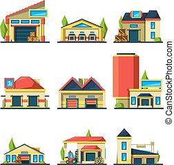 bâtiments, industriel, flat., articles, usine, différent, maisons, vecteur, entrepôt, construction, paquets, vide