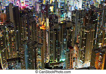 bâtiments, kong, hong, nuit