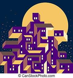 bâtiments., lune, illumine, fenetres, town., grand, urbain, lumière claire, jaune, ville, géométrique, moderne, composition, cityscape., night., vue