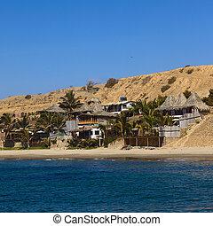 bâtiments, mancora, plage, long, pérou