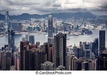 bâtiments, moderne, hong kong
