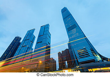 bâtiments, moderne, kong., bureau, hong