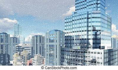 bâtiments, monter, moderne, chute neige, élevé, 4k, jour