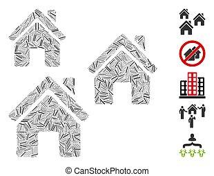 bâtiments, mosaïque, trappe, village