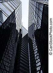 bâtiments, noir, blanc, bureau