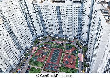 bâtiments, nouveau, résidentiel, complex., appartement