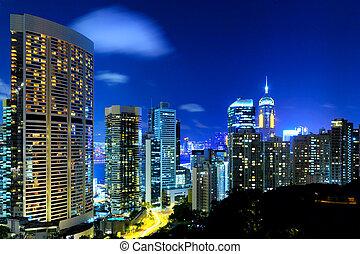 bâtiments, nuit, business