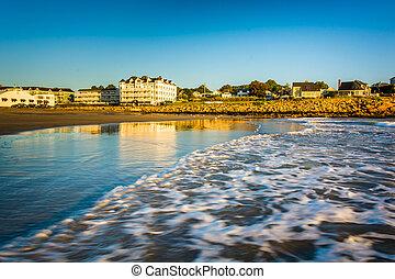 bâtiments, océan, atlantique, vagues, long, plage, yor