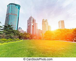 bâtiments, printemps, moderne, groenland