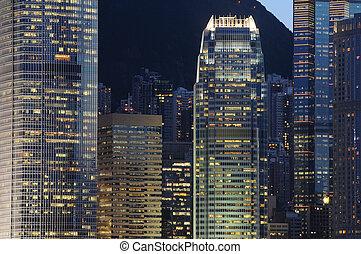 bâtiments, scène, business, nuit